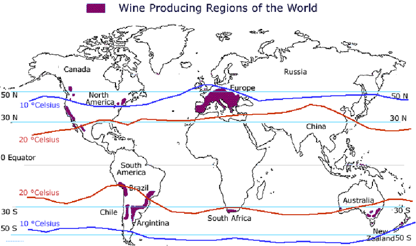 Wine producing regions of the world