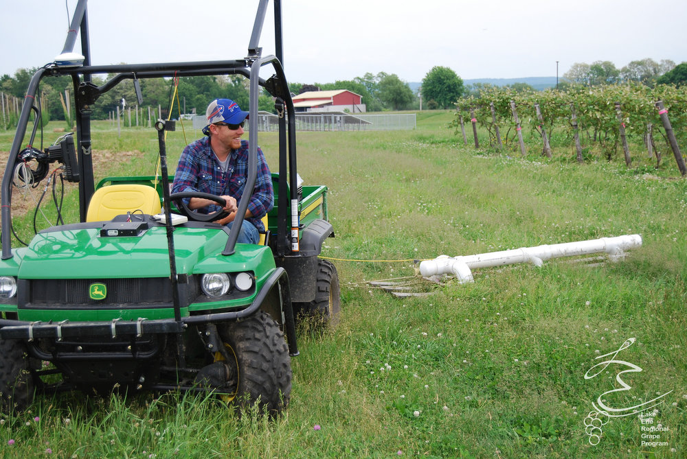 Soil sensor measures electrical conductivity in the vineyard to provide a map of soil characteristics.