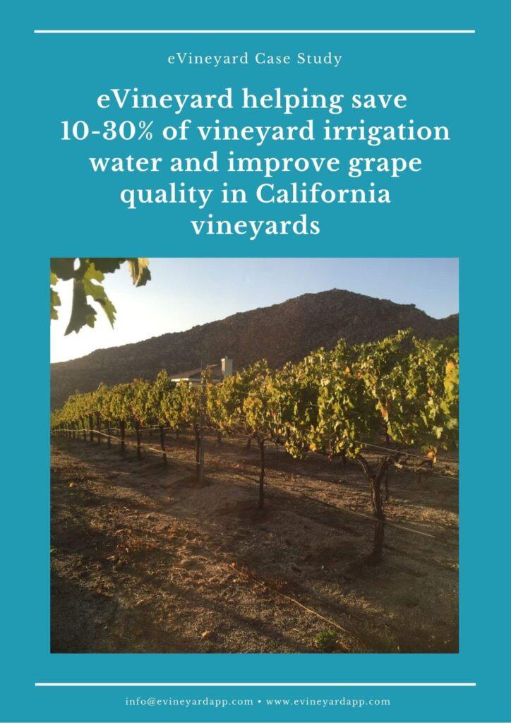 eVineyard precision vineyard irrigation Case Study
